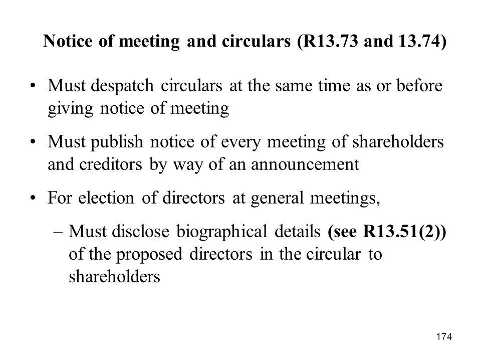 Notice of meeting and circulars (R13.73 and 13.74)