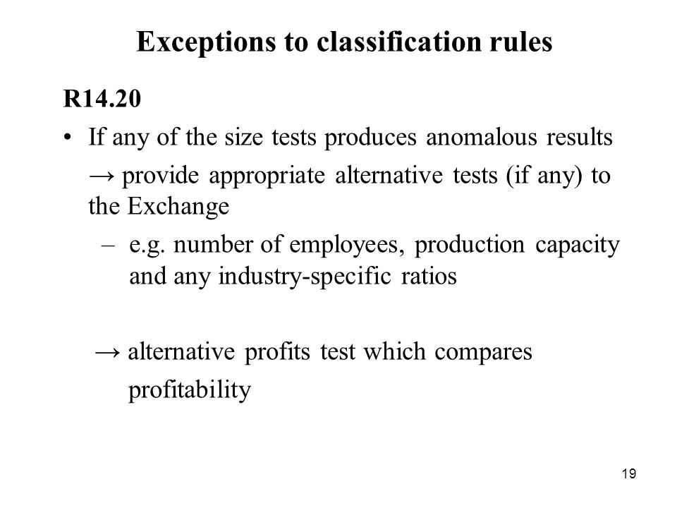 Exceptions to classification rules