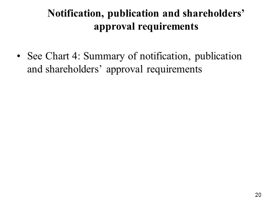 Notification, publication and shareholders' approval requirements