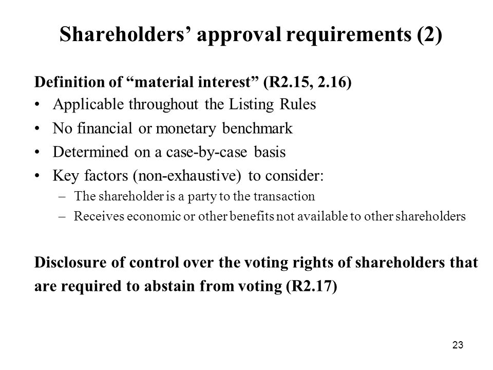 Shareholders' approval requirements (2)