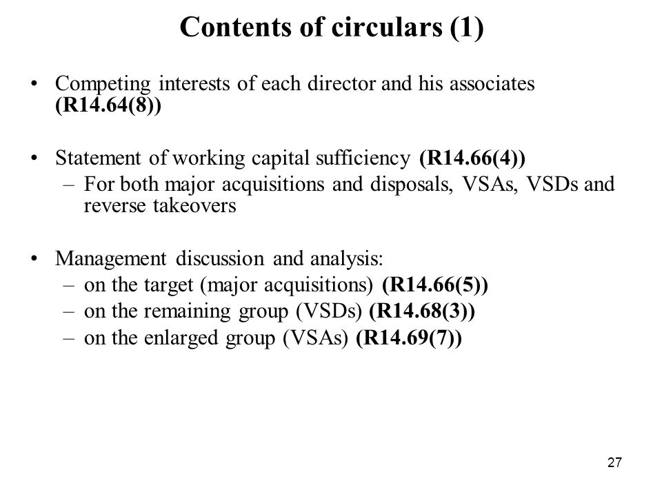 Contents of circulars (1)