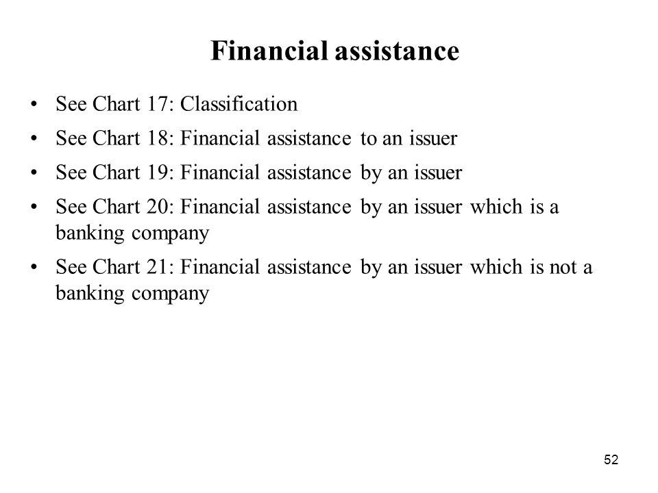 Financial assistance See Chart 17: Classification