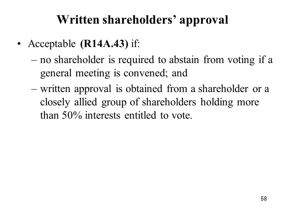 Written shareholders' approval