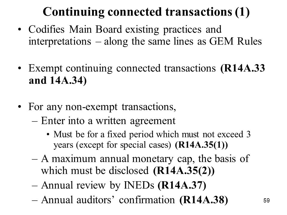 Continuing connected transactions (1)
