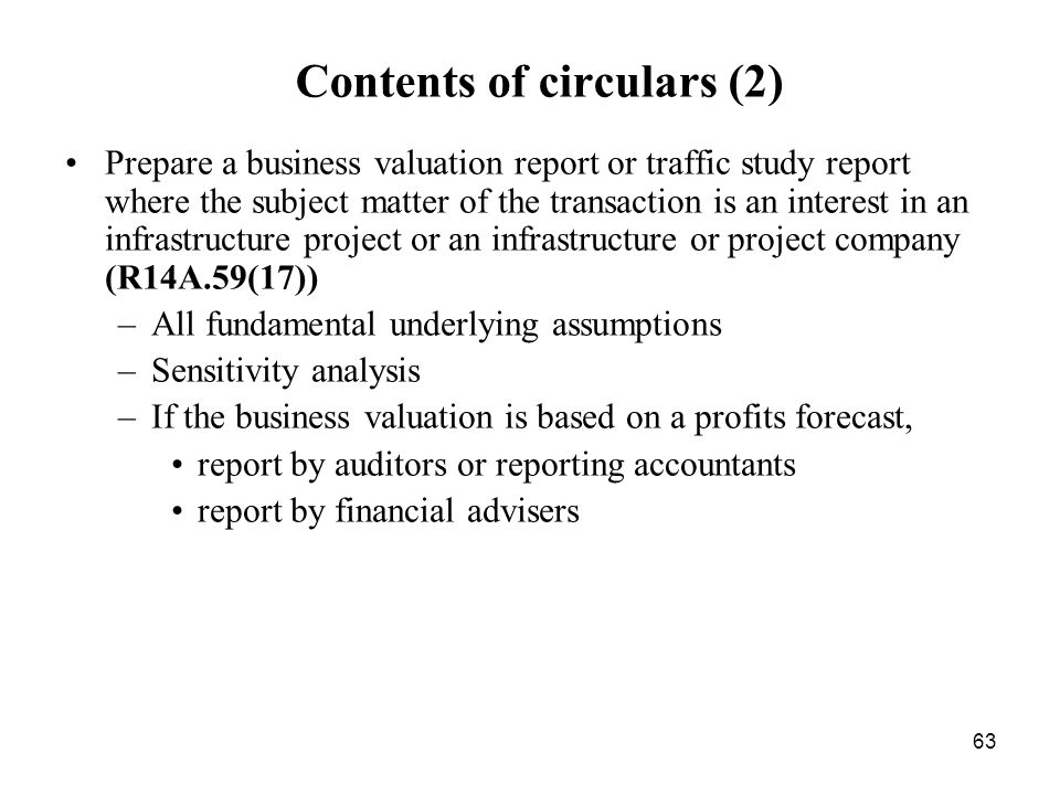 Contents of circulars (2)