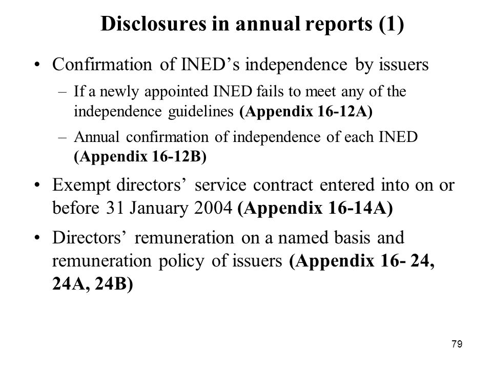 Disclosures in annual reports (1)