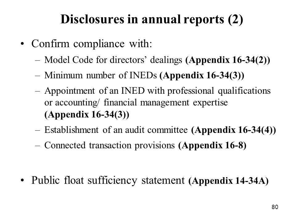 Disclosures in annual reports (2)