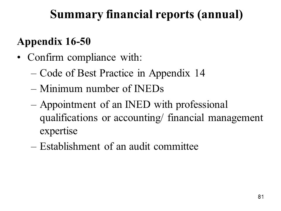 Summary financial reports (annual)