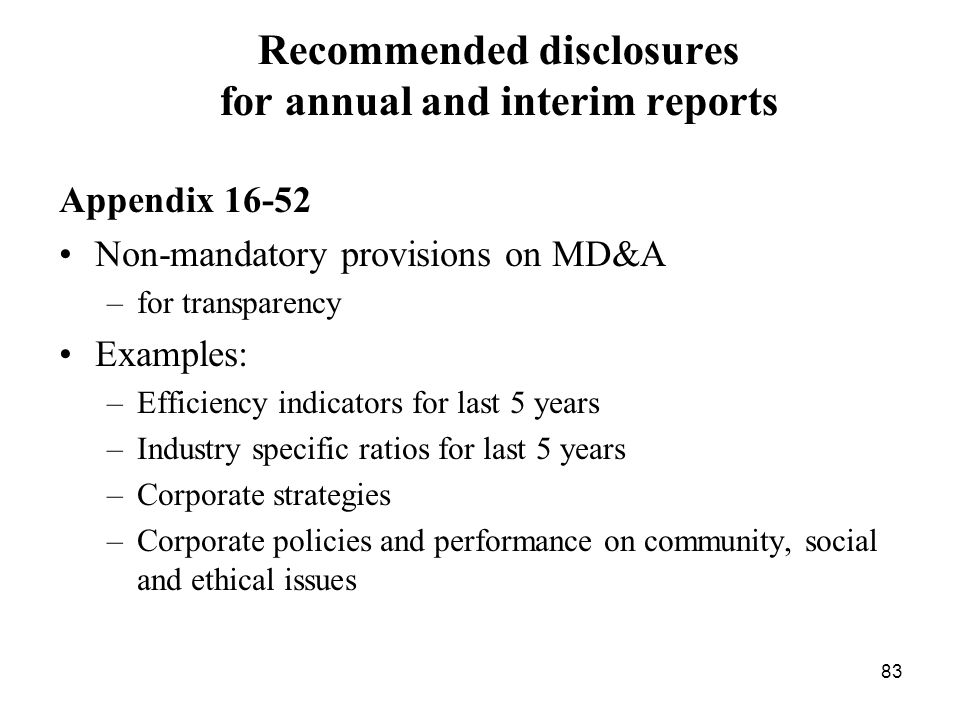 Recommended disclosures for annual and interim reports