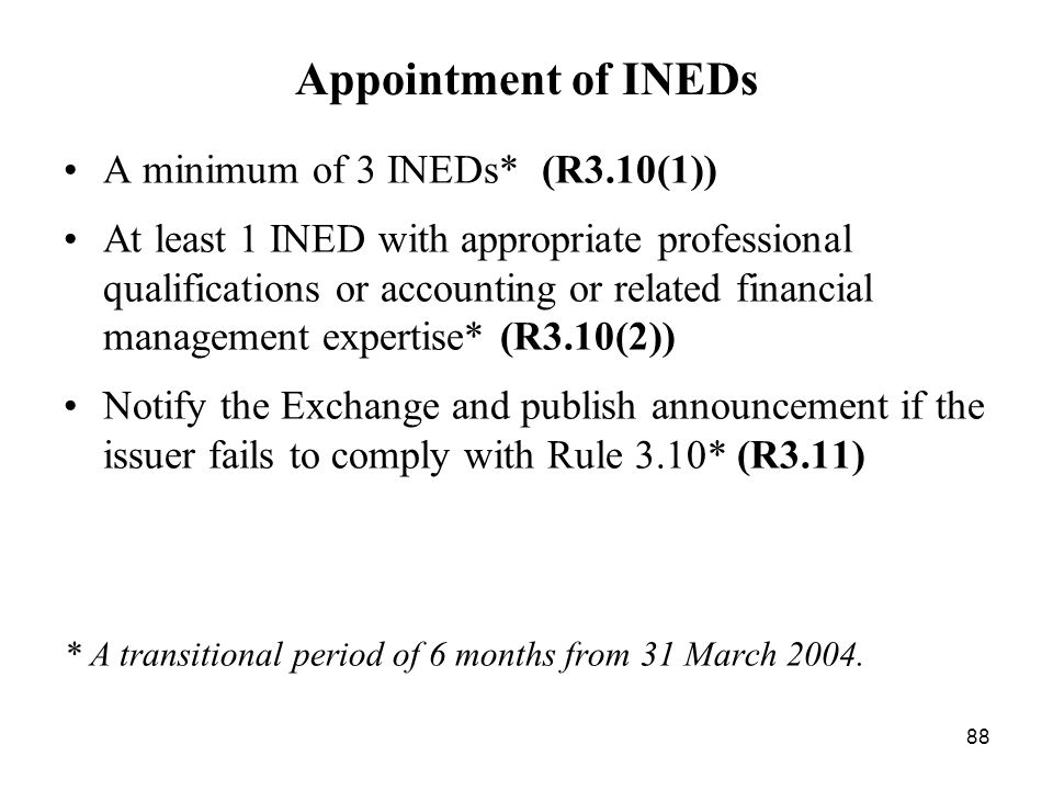 Appointment of INEDs A minimum of 3 INEDs* (R3.10(1))