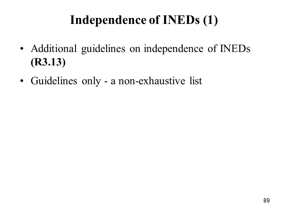 Independence of INEDs (1)