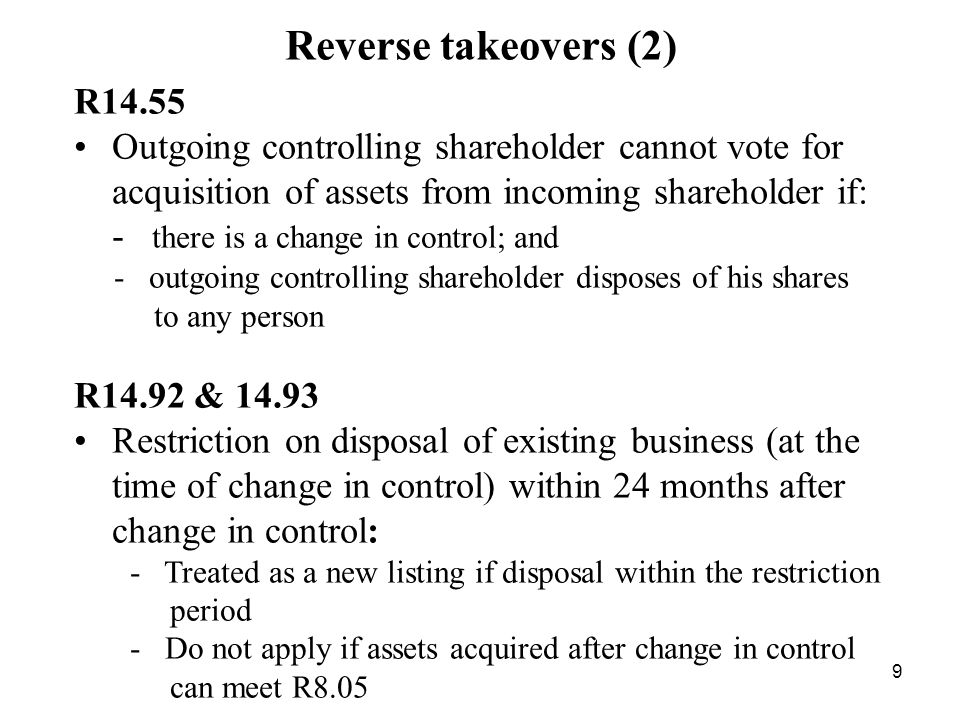 Reverse takeovers (2) R14.55.