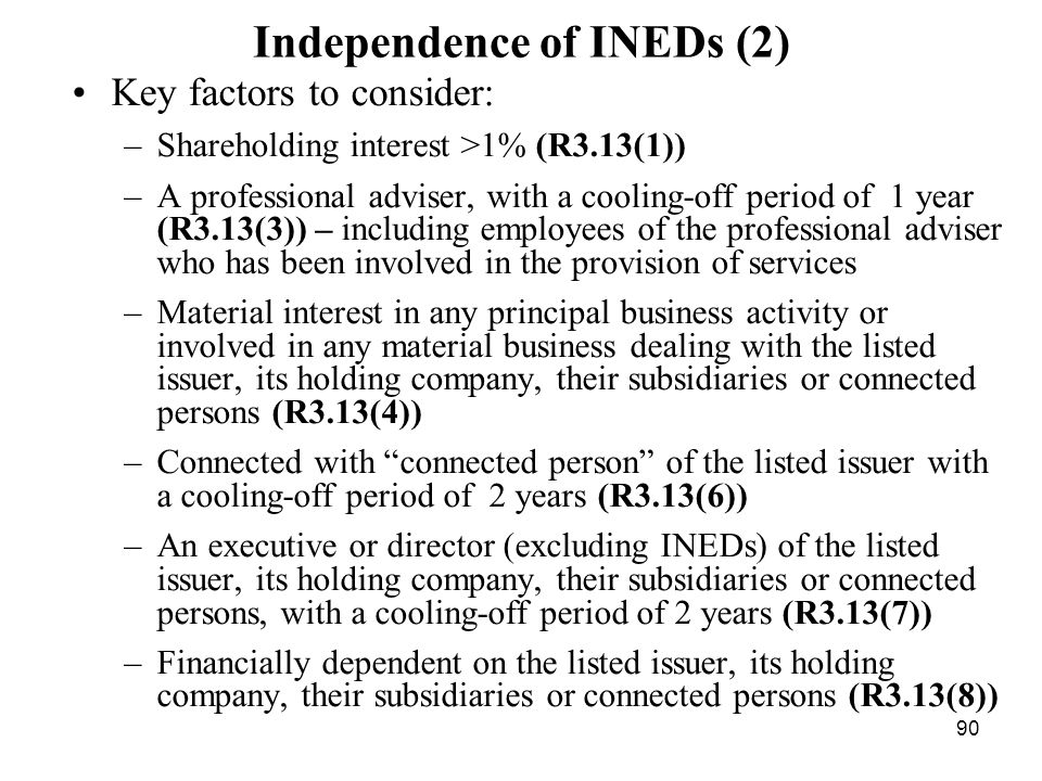 Independence of INEDs (2)
