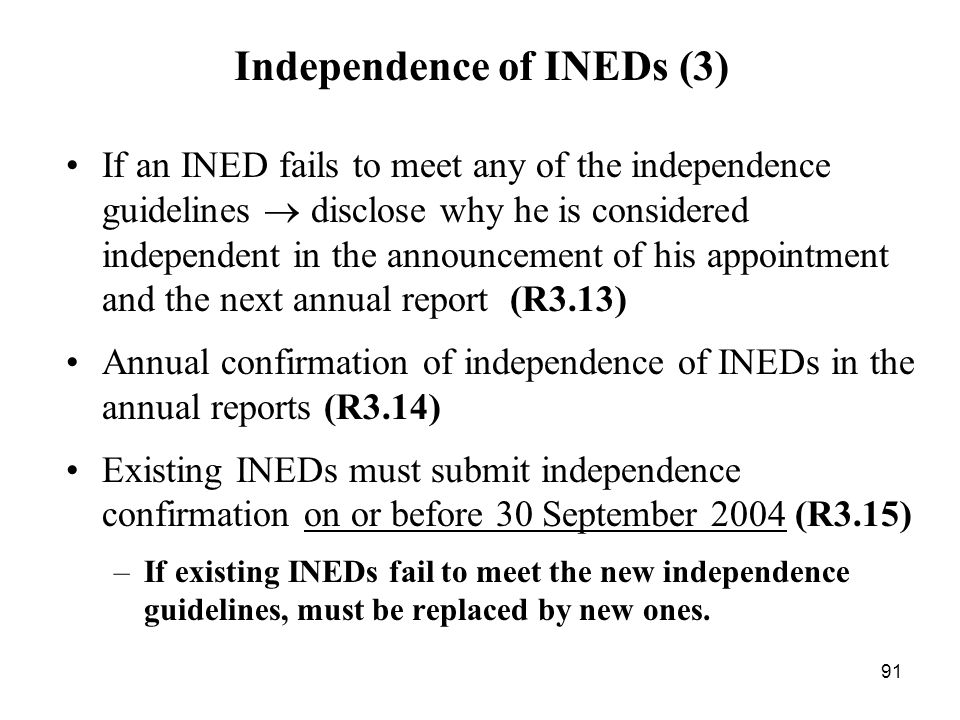 Independence of INEDs (3)