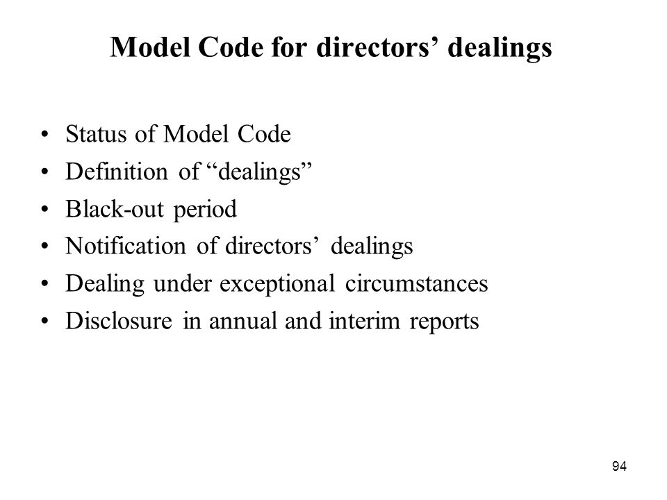 Model Code for directors' dealings