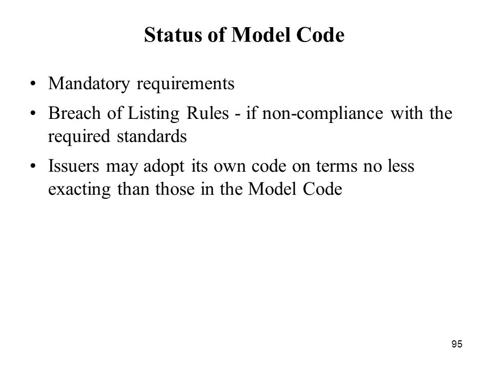Status of Model Code Mandatory requirements