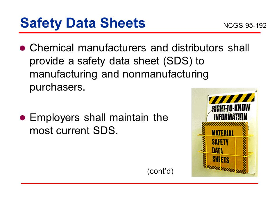 Safety Data Sheets NCGS 95-192.