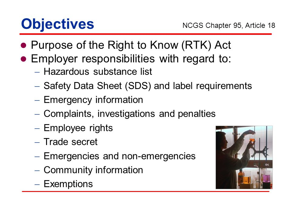 Objectives Purpose of the Right to Know (RTK) Act