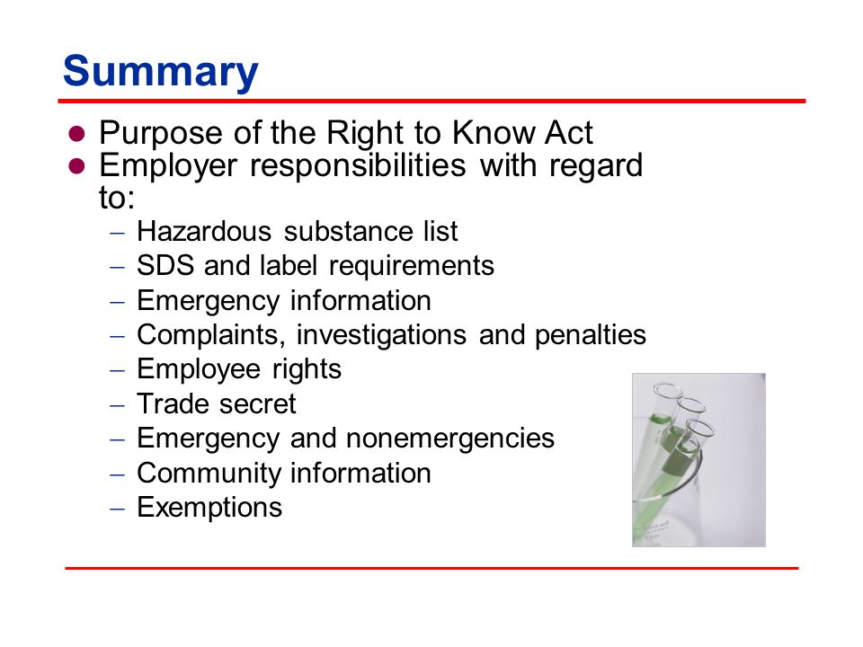 Summary Purpose of the Right to Know Act