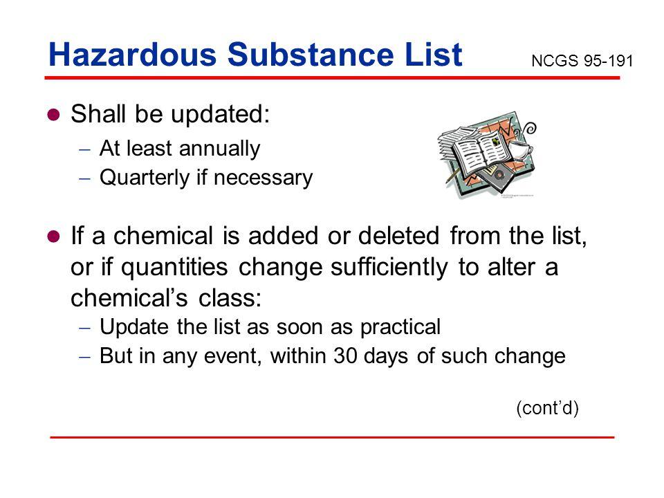 Hazardous Substance List