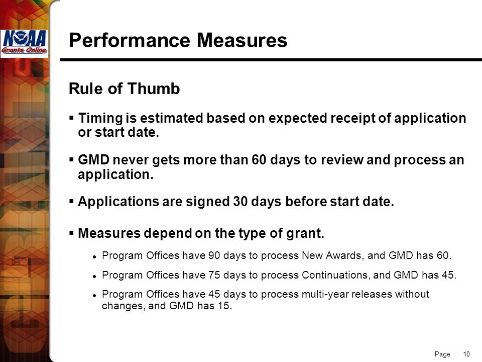 Performance Measures Rule of Thumb