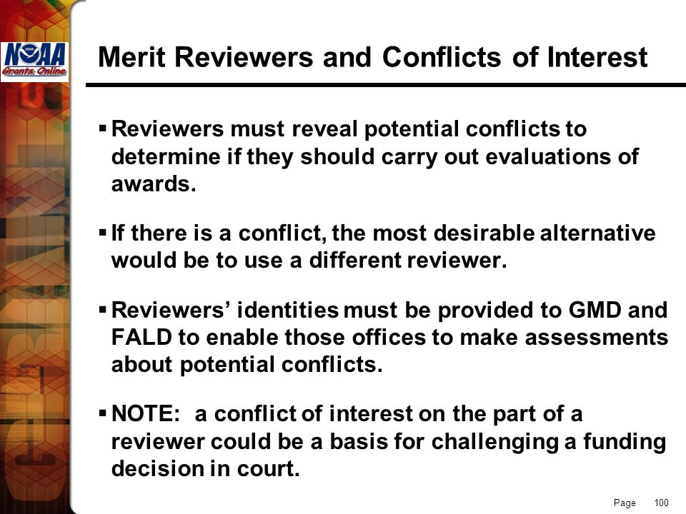 Merit Reviewers and Conflicts of Interest