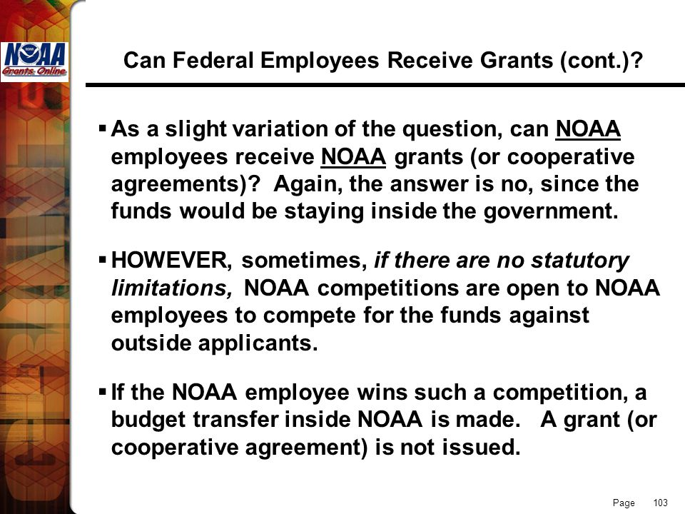 Can Federal Employees Receive Grants (cont.)
