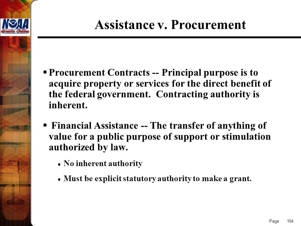 Assistance v. Procurement