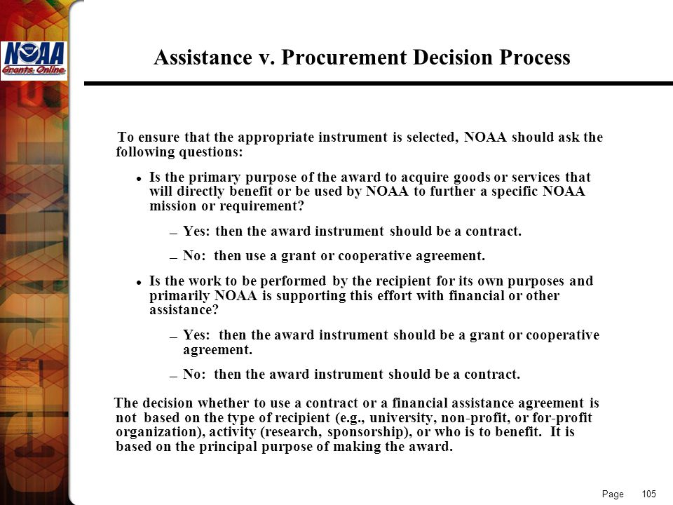 Assistance v. Procurement Decision Process