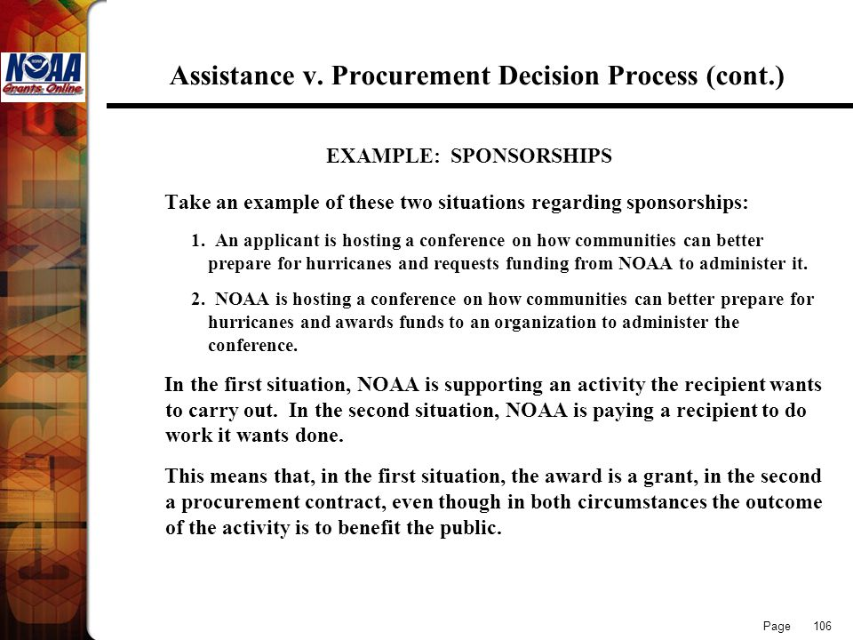 Assistance v. Procurement Decision Process (cont.)