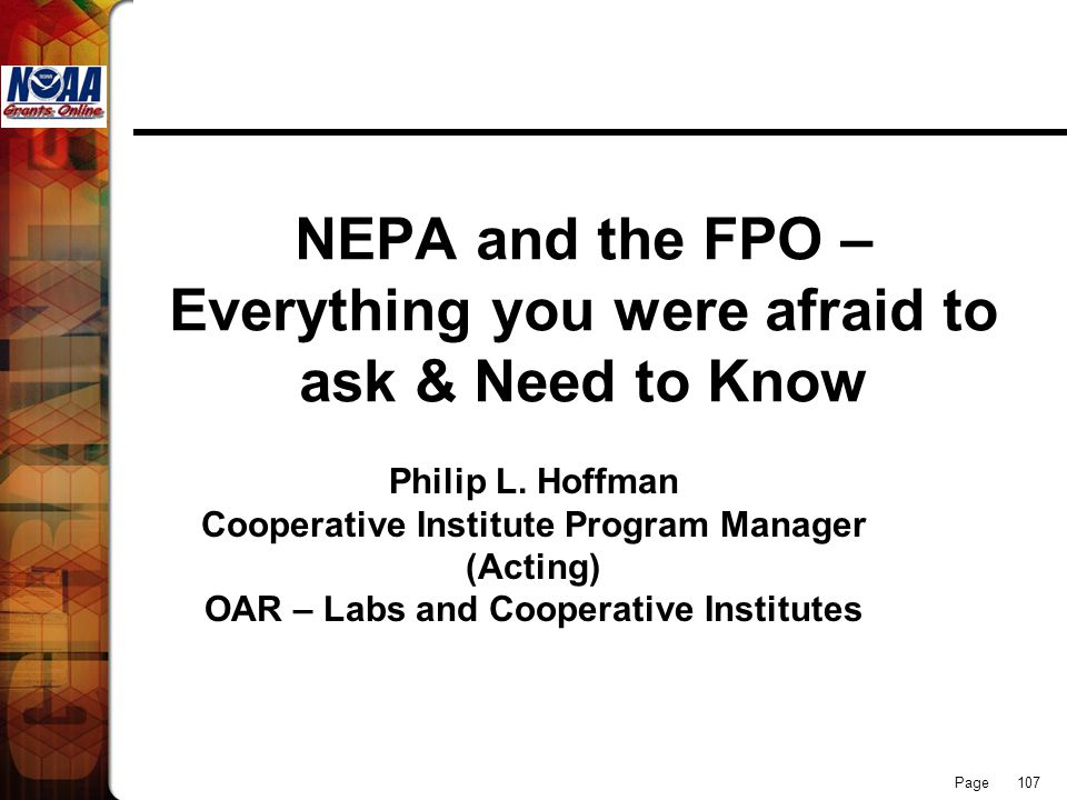 NEPA and the FPO – Everything you were afraid to ask & Need to Know