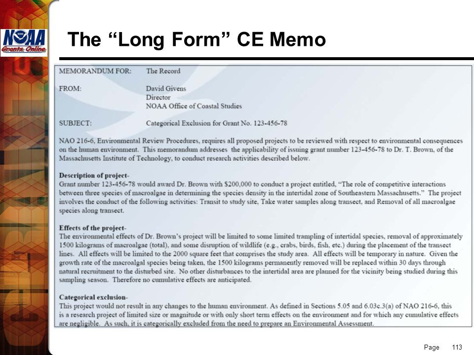 The Long Form CE Memo