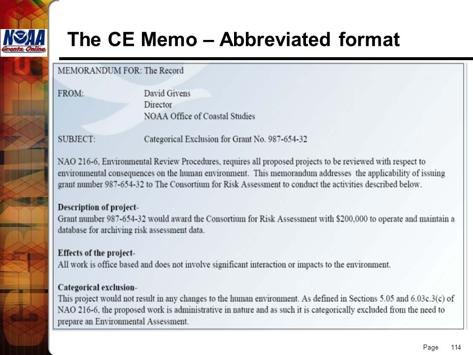 The CE Memo – Abbreviated format