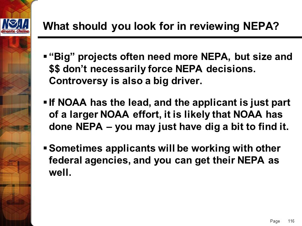 What should you look for in reviewing NEPA