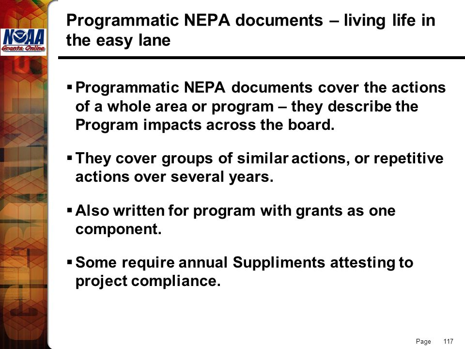 Programmatic NEPA documents – living life in the easy lane