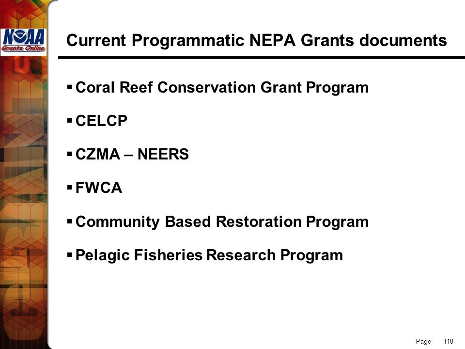 Current Programmatic NEPA Grants documents