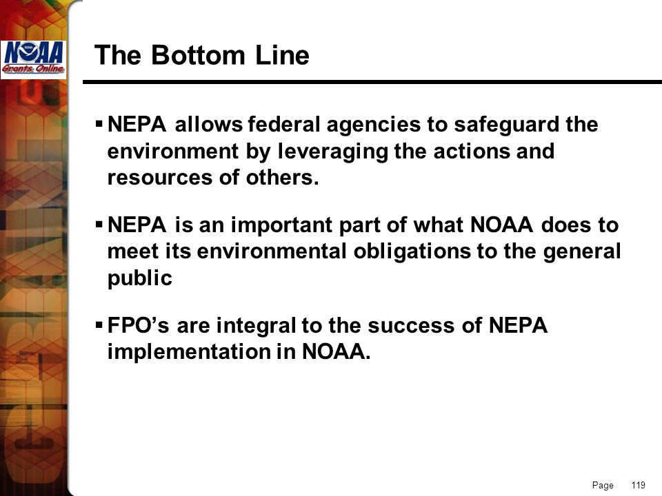 The Bottom Line NEPA allows federal agencies to safeguard the environment by leveraging the actions and resources of others.
