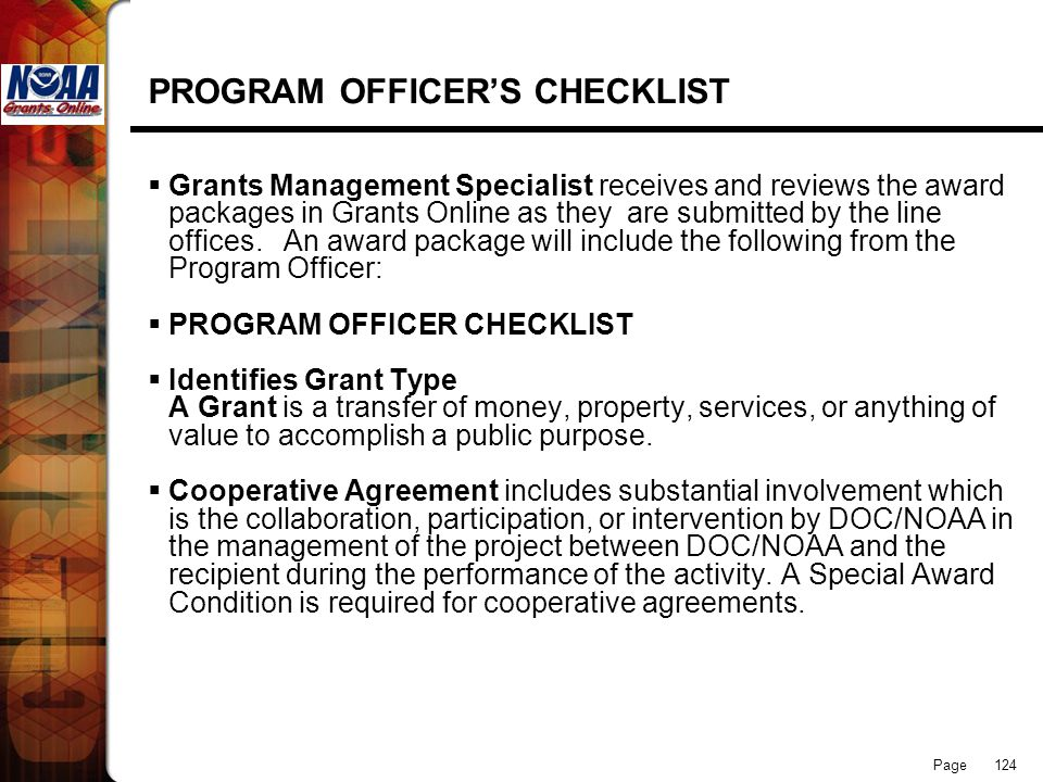 PROGRAM OFFICER'S CHECKLIST