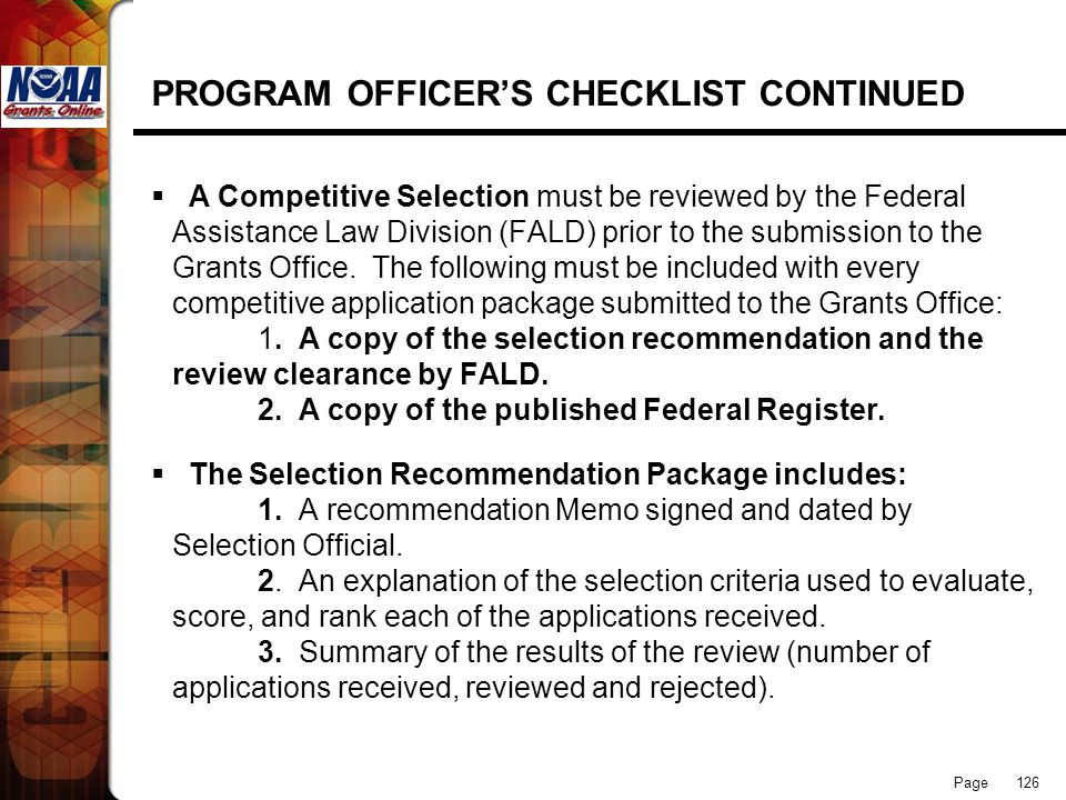 PROGRAM OFFICER'S CHECKLIST CONTINUED