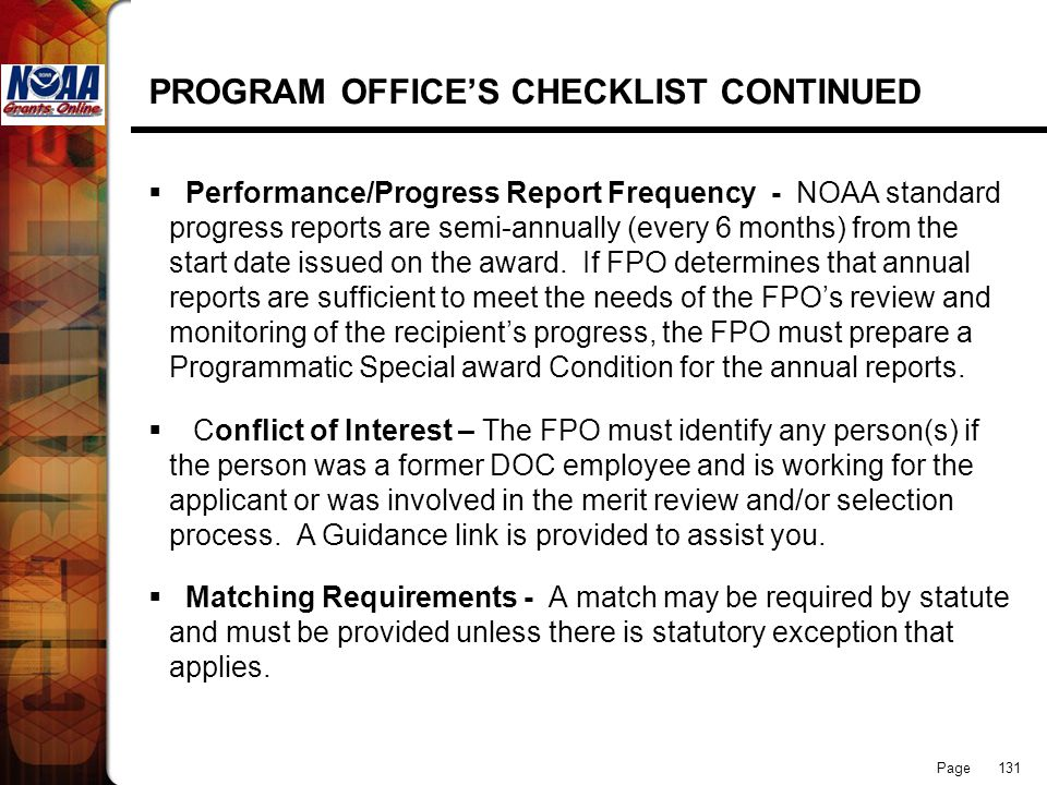 PROGRAM OFFICE'S CHECKLIST CONTINUED