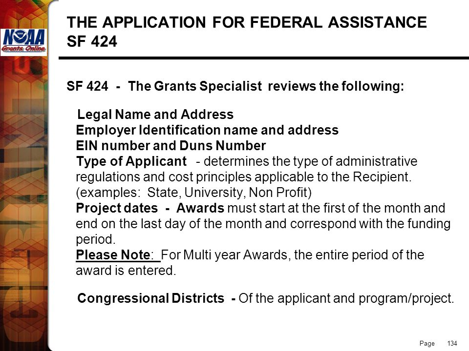 THE APPLICATION FOR FEDERAL ASSISTANCE SF 424