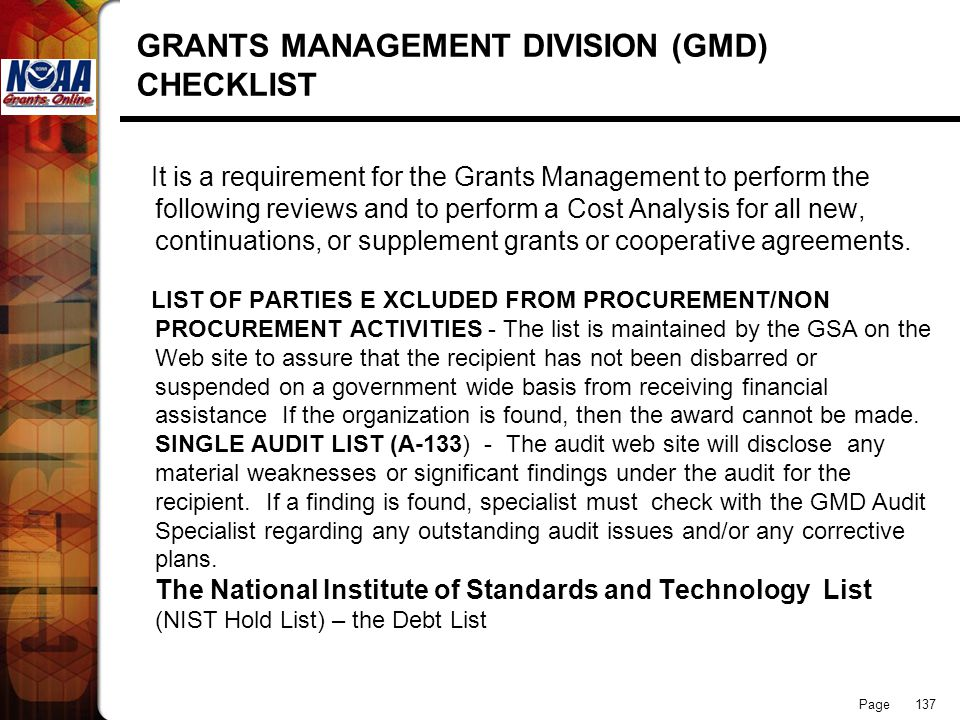 GRANTS MANAGEMENT DIVISION (GMD) CHECKLIST