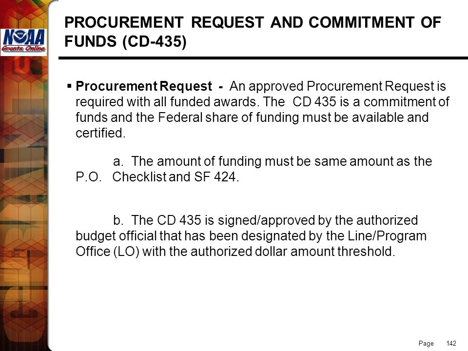 PROCUREMENT REQUEST AND COMMITMENT OF FUNDS (CD-435)
