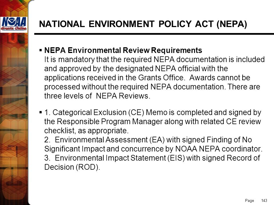 NATIONAL ENVIRONMENT POLICY ACT (NEPA)