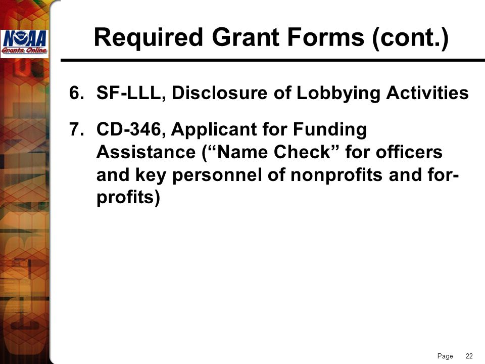 Required Grant Forms (cont.)
