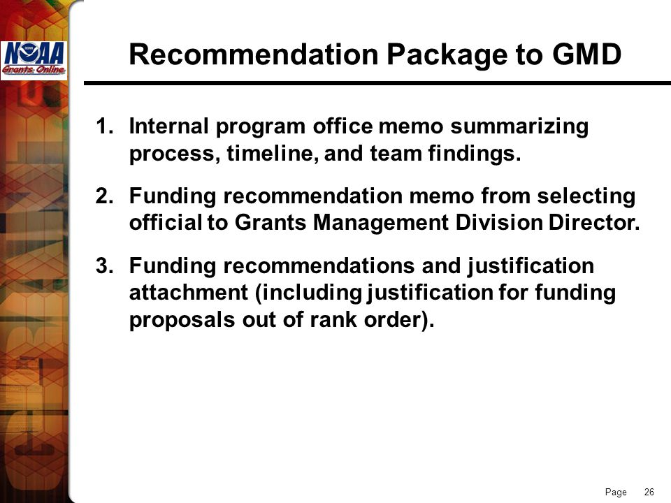 Recommendation Package to GMD