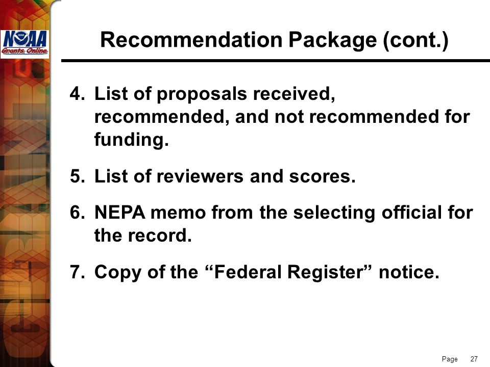 Recommendation Package (cont.)