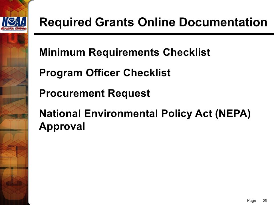 Required Grants Online Documentation