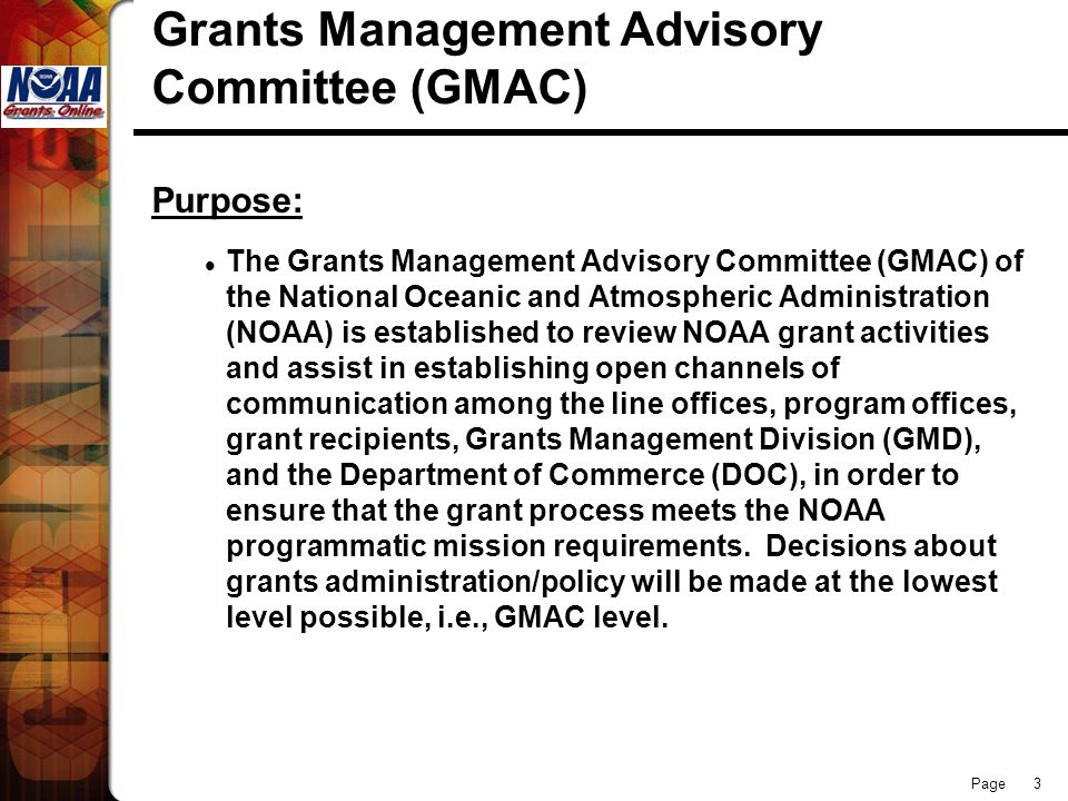 Grants Management Advisory Committee (GMAC)