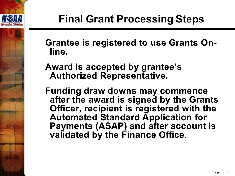 Final Grant Processing Steps